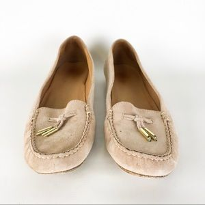 Stuart Weitzman Nude Leather Suede Loafers